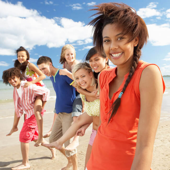 Young adults at the beach